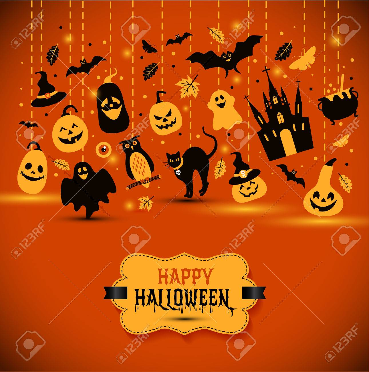 Halloween Banner On Orange Background. Invitation To Night Party ...