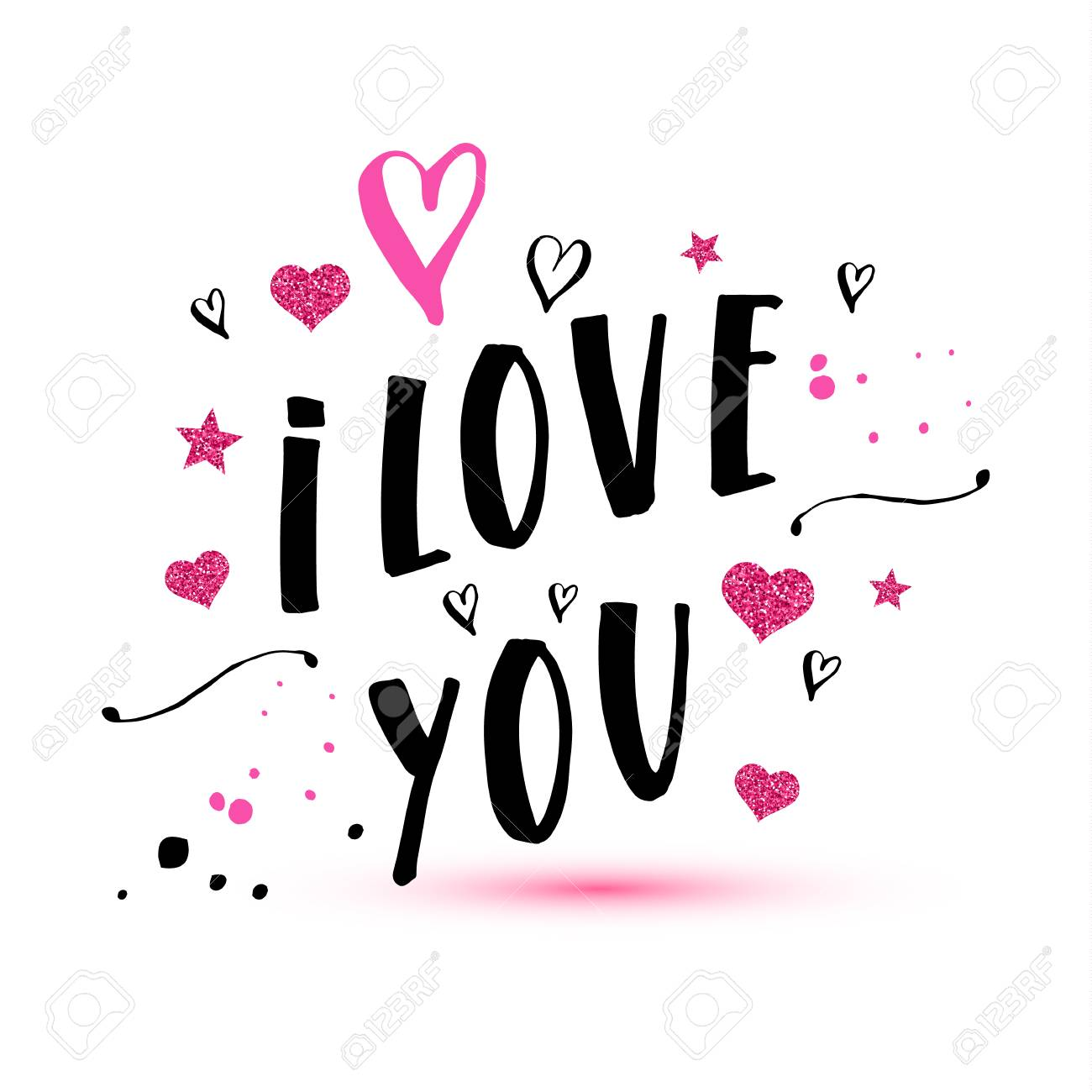 I love you text of valentines day background illustration. - 96524130