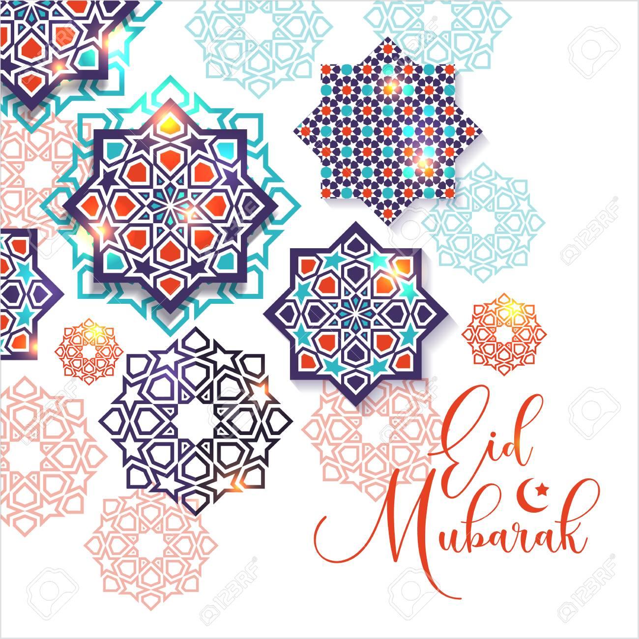 Festival graphic of islamic geometric art. Islamic decoration. Eid Mubarak celebration. - 100076250