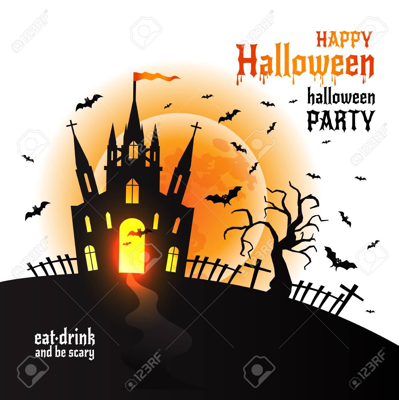 Halloween Dracula s castle. Vector illustration on white. - 108073601