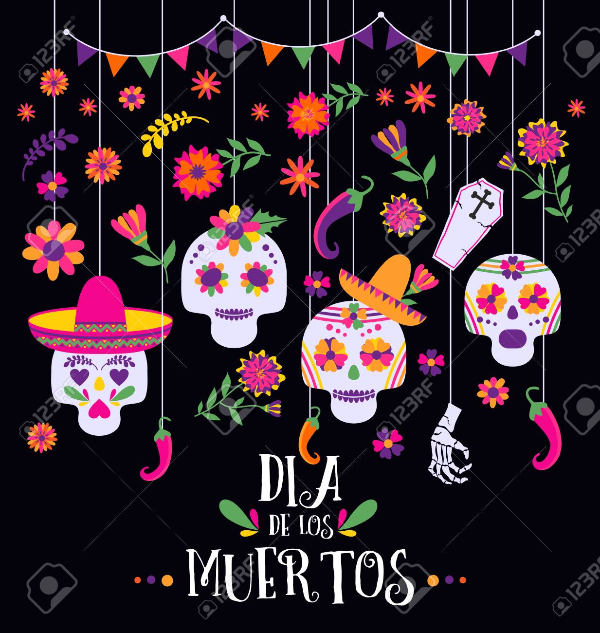 Day Of The Dead Dia De Los Muertos Banner With Colorful Mexican Stock Photo Picture And Royalty Free Image Image 108438214