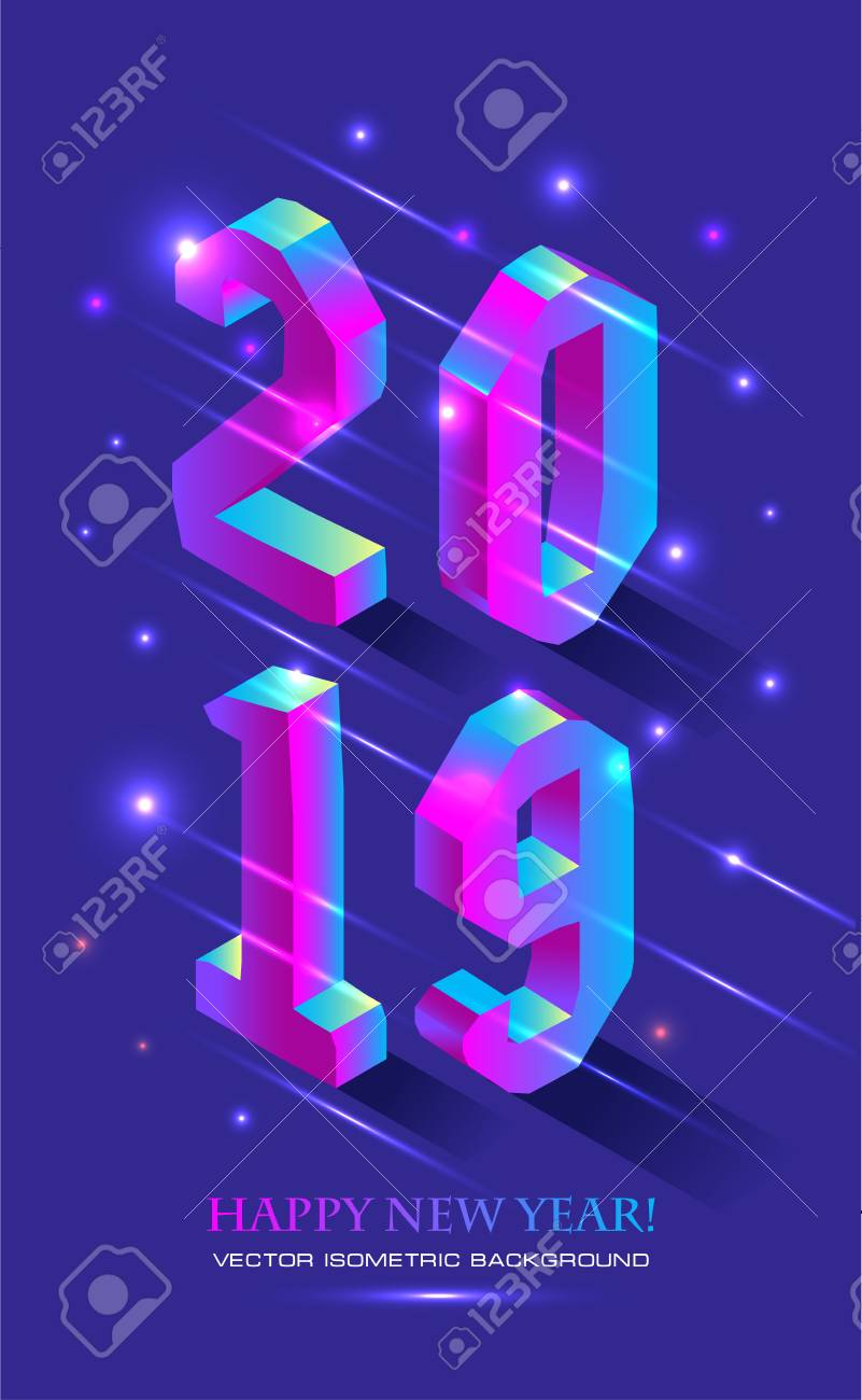 New Year 2019 in Isometric style. Vector isometric banner of number 2019 in brught gradient with greeting inscription of Happy New Year. - 122041822