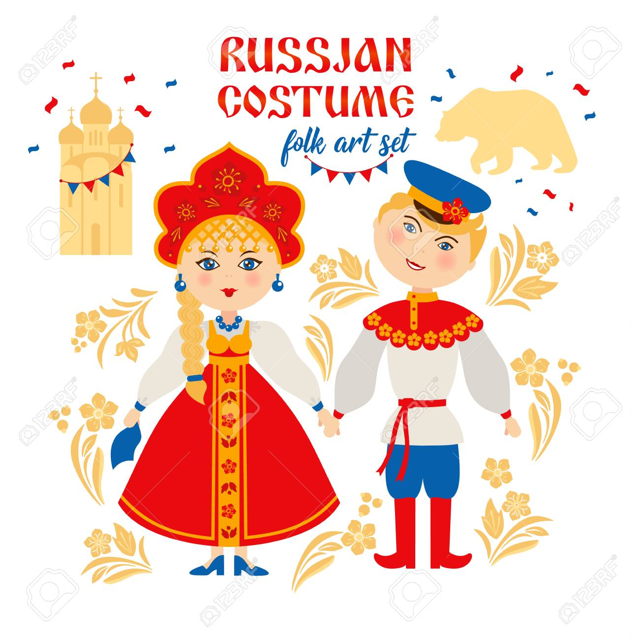 Russian people in folk national costume. Russia, Moscow concept. - 122041941