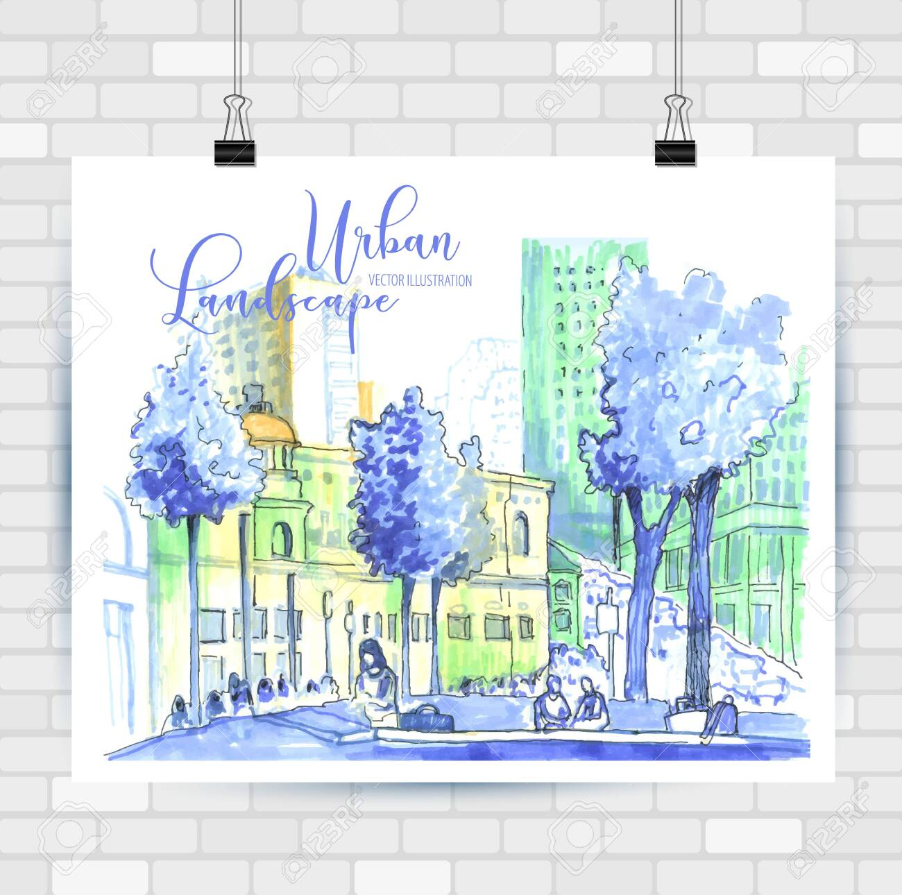 City sketch in hand drawn style. Travel inspiration. - 122480526