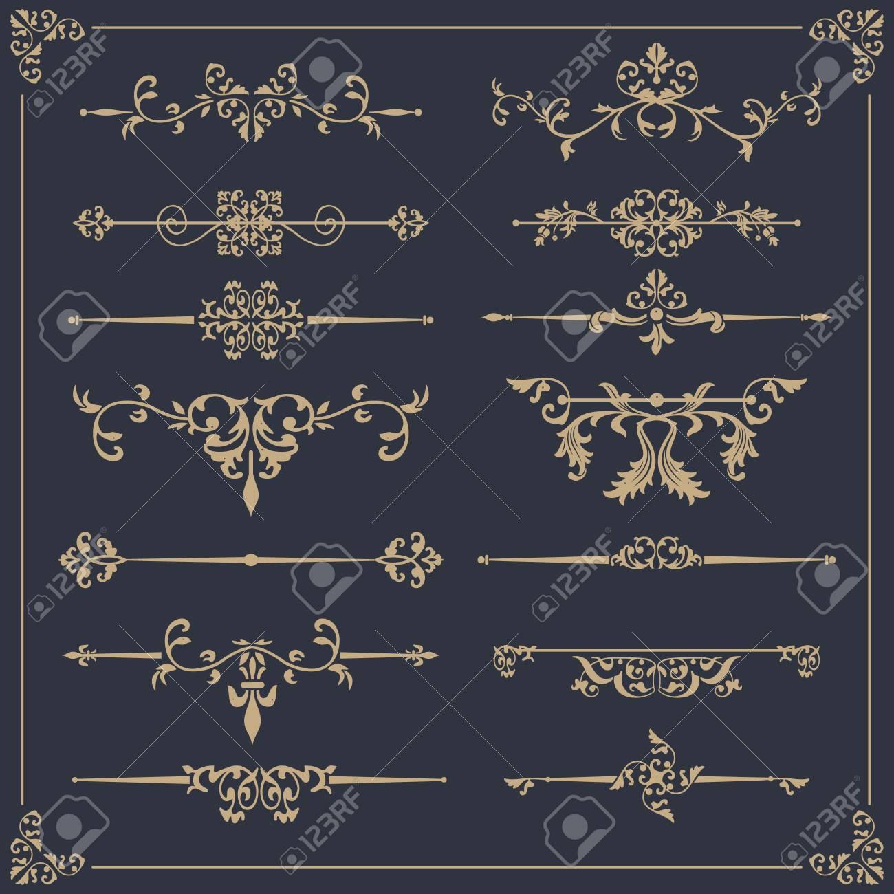 Vintage vector Set. Floral elements for design of monograms, invitations, frames, menus, labels and websites. - 122525940