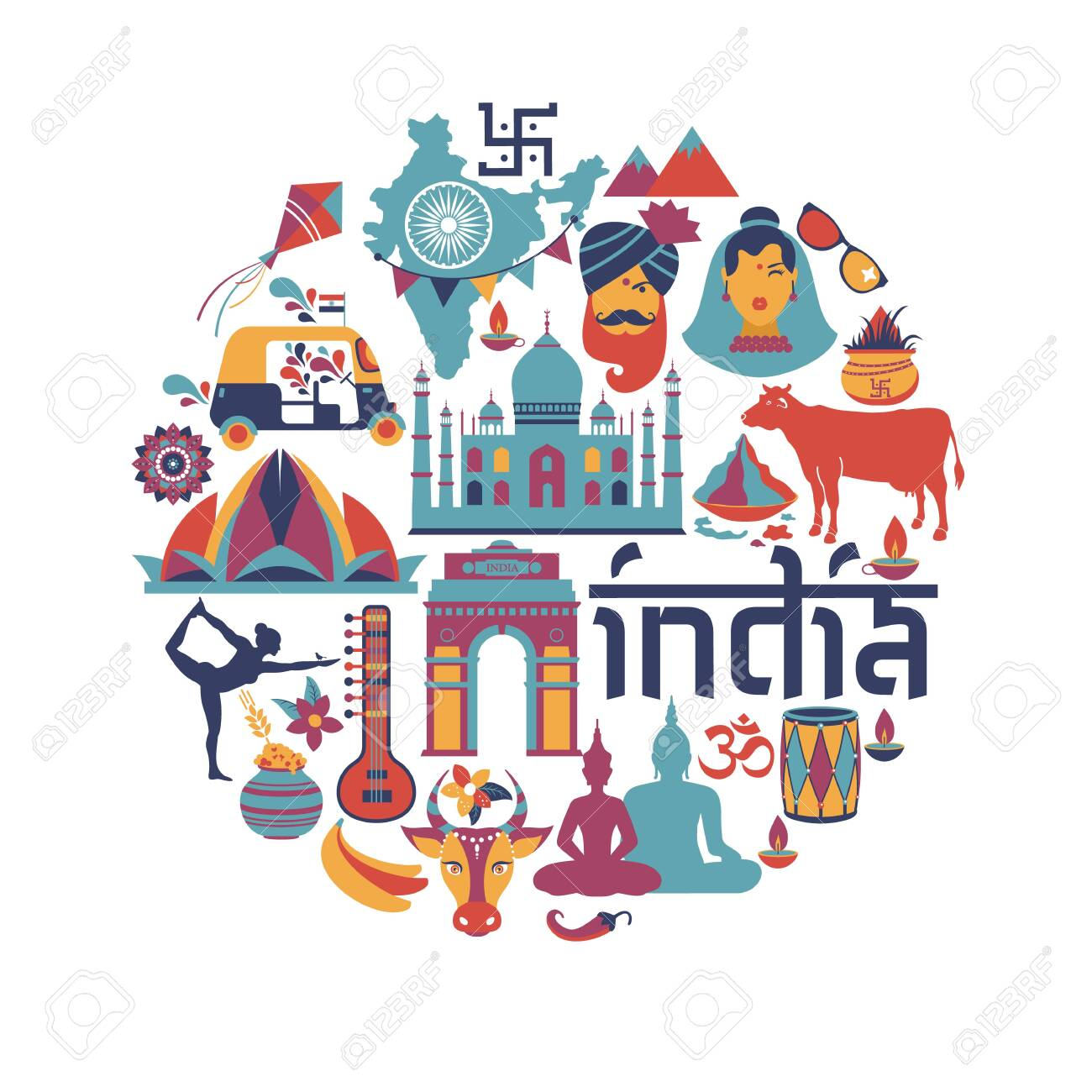 India set Asia country vector Indian architecture Asian traditions Buddhism travel isolated icons and symbols in circle. - 139904147