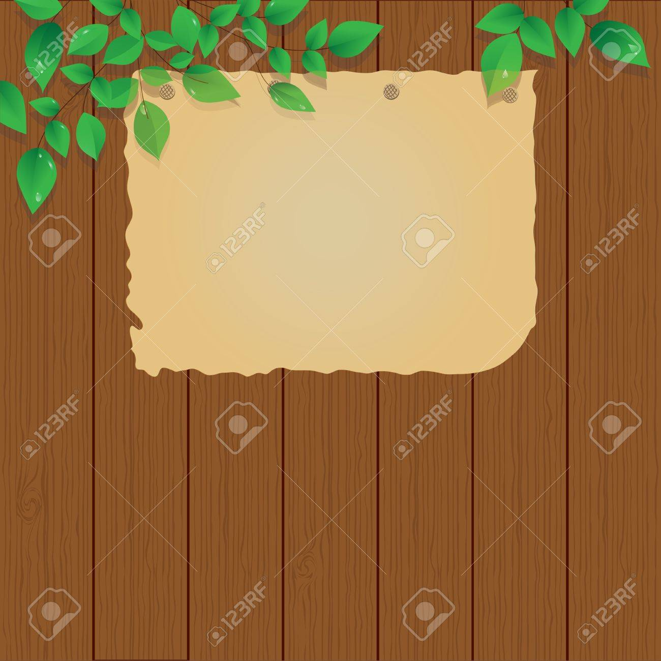 old paper  on the wood fence, sign, vector Stock Vector - 13495700