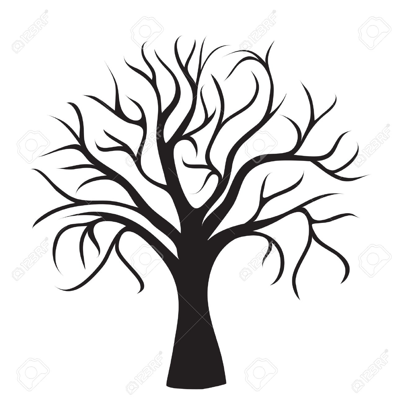 Black Tree Without Leaves On White Background Vector Image Royalty