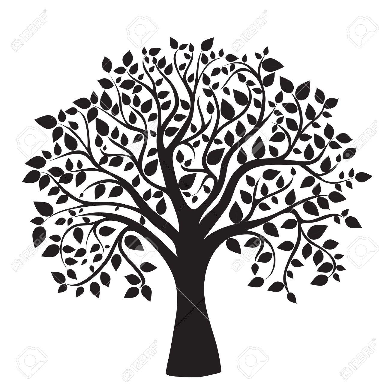 Silueta De árbol Negro Sobre Fondo Blanco Vector Fotos Retratos