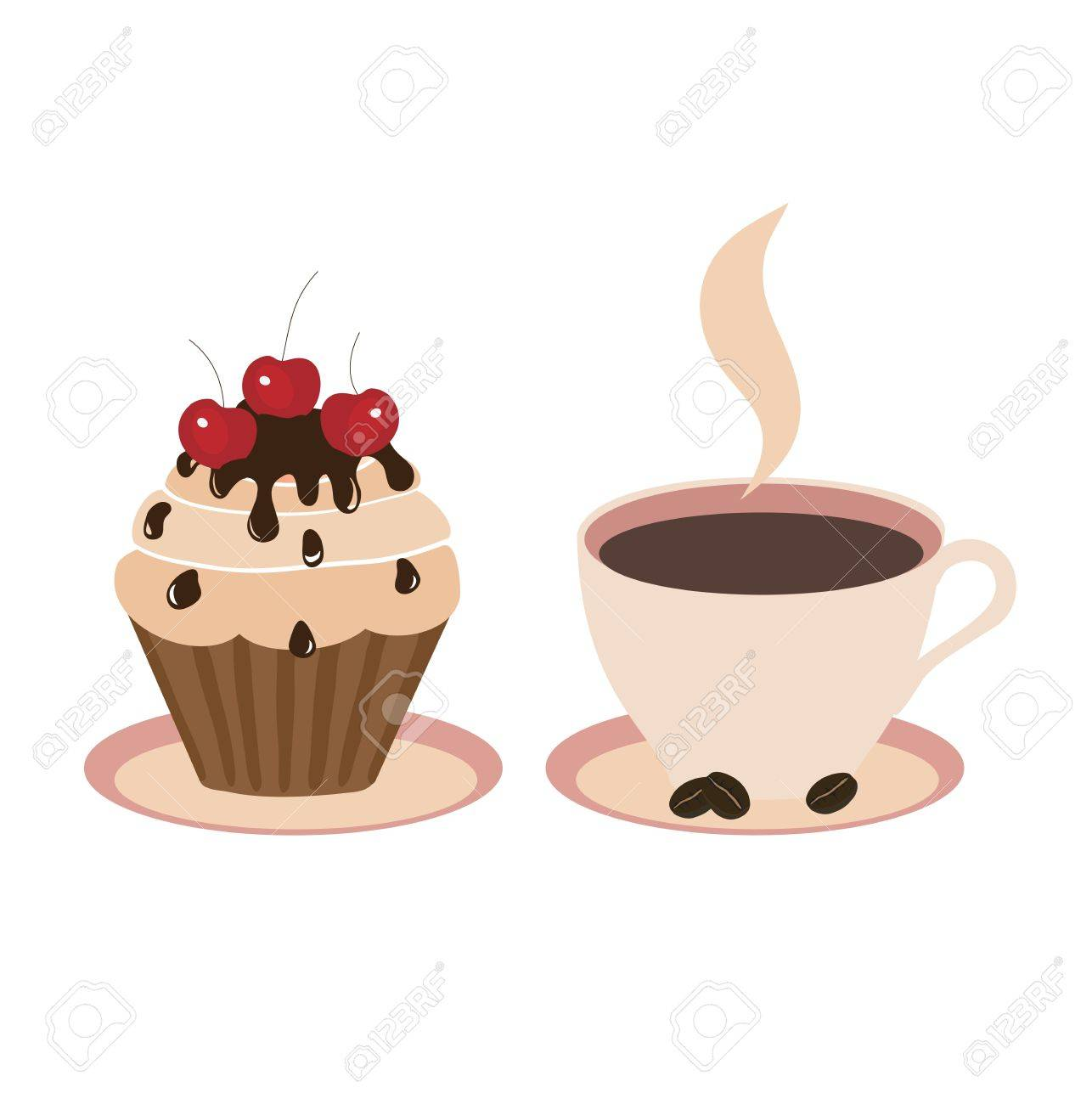 Sweet cake and cup on a light background Stock Vector - 13610613