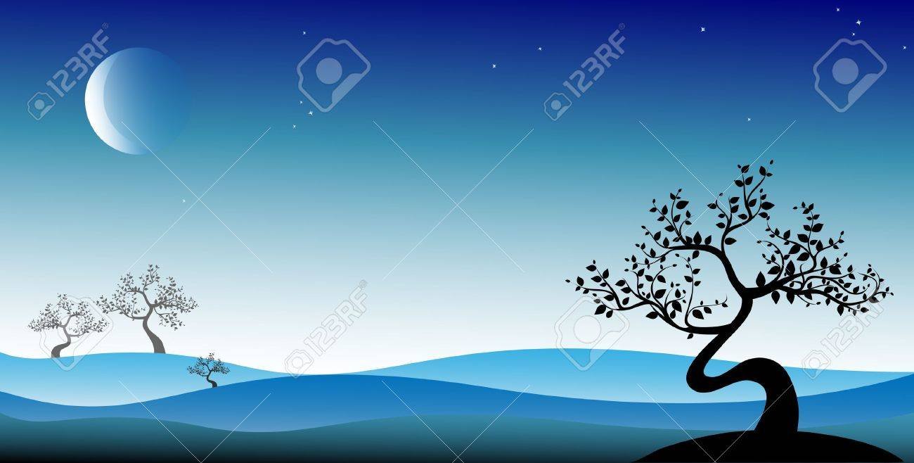 Black bonsai tree on blue background, vector Stock Vector - 13994721