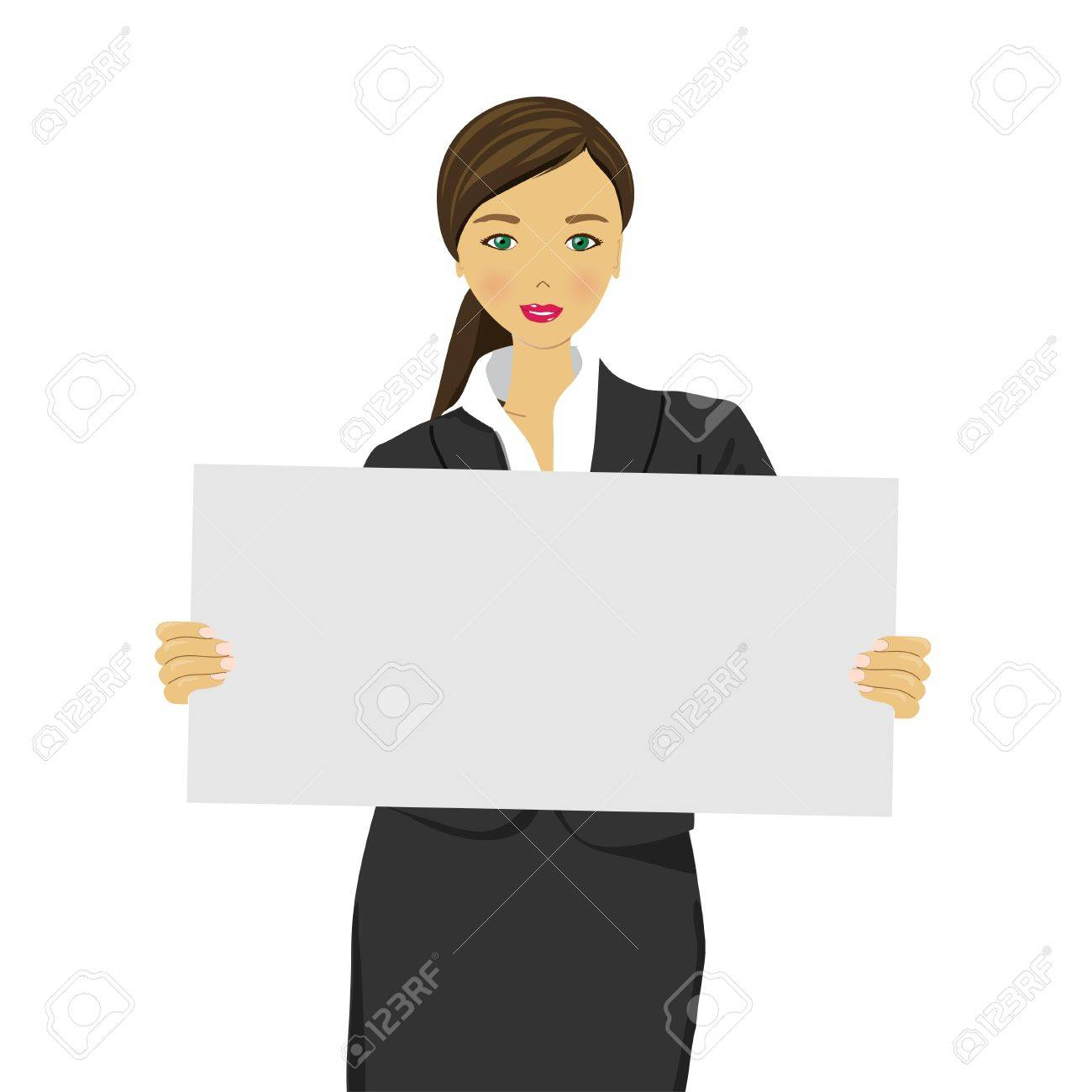 Portrait of young woman with blank white board Stock Vector - 14059784