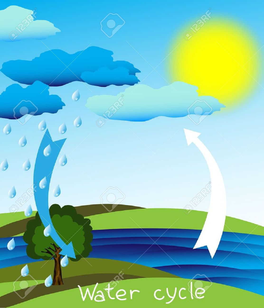 simple and clear diagram of the water cycle, royalty free cliparts
