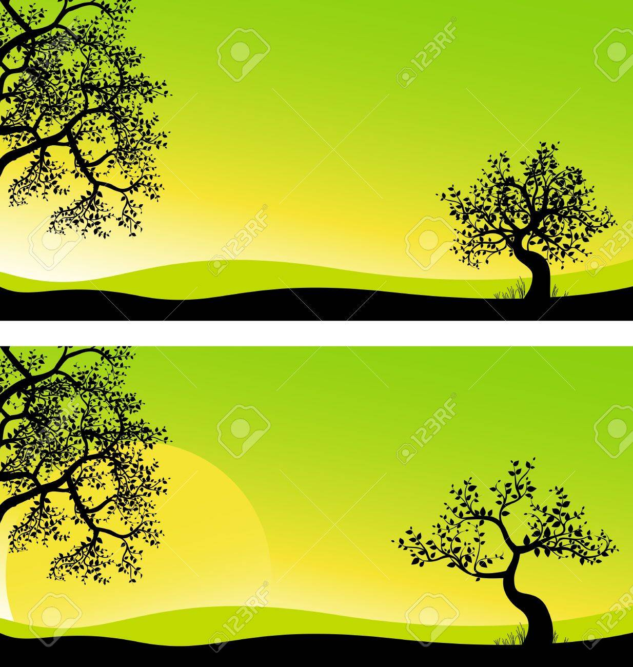 Landscape panorama, vector image sunrise, background for design Stock Vector - 14464679