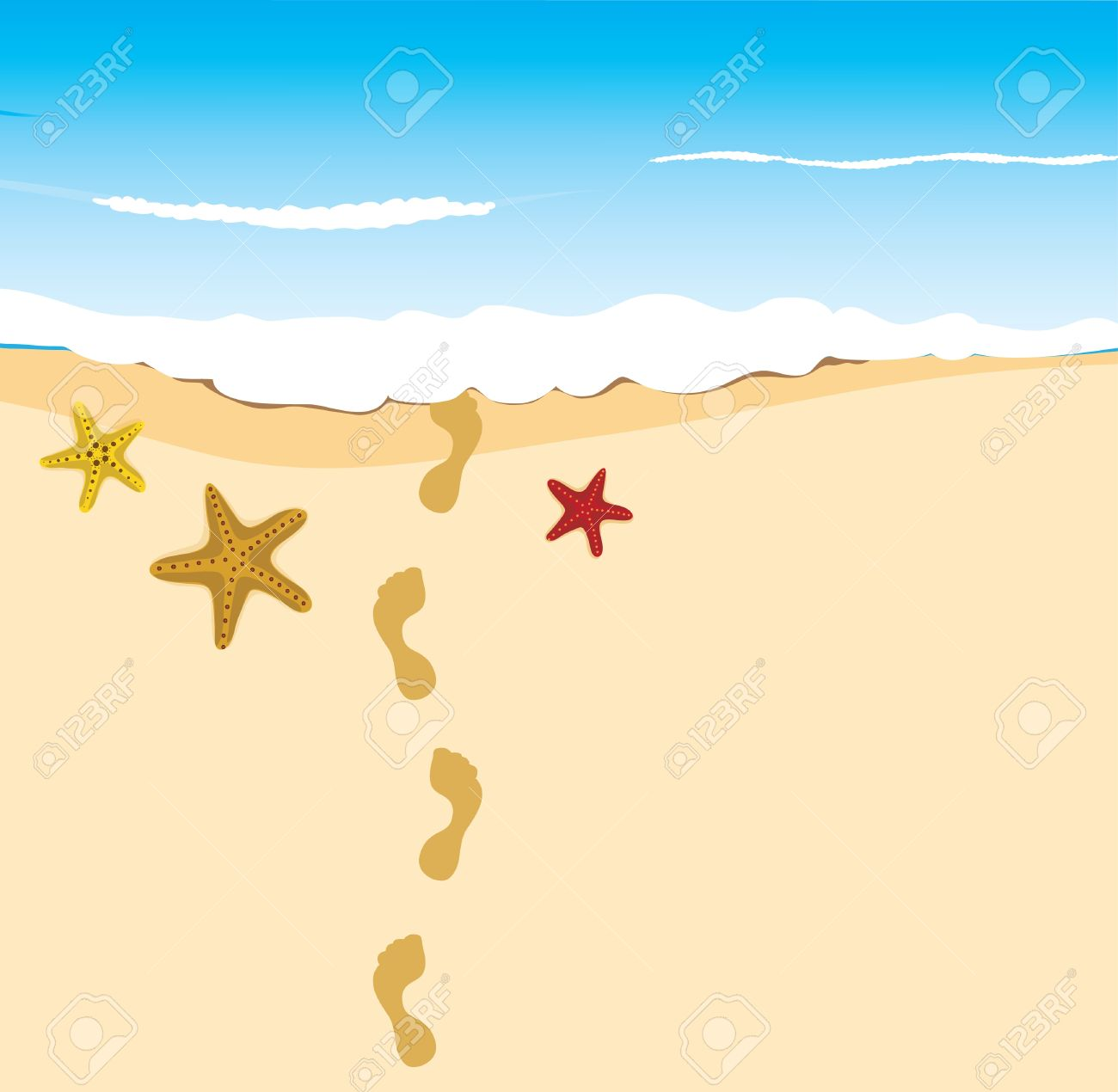 Stars On The Sand With Footprints Royalty Free Cliparts Vectors
