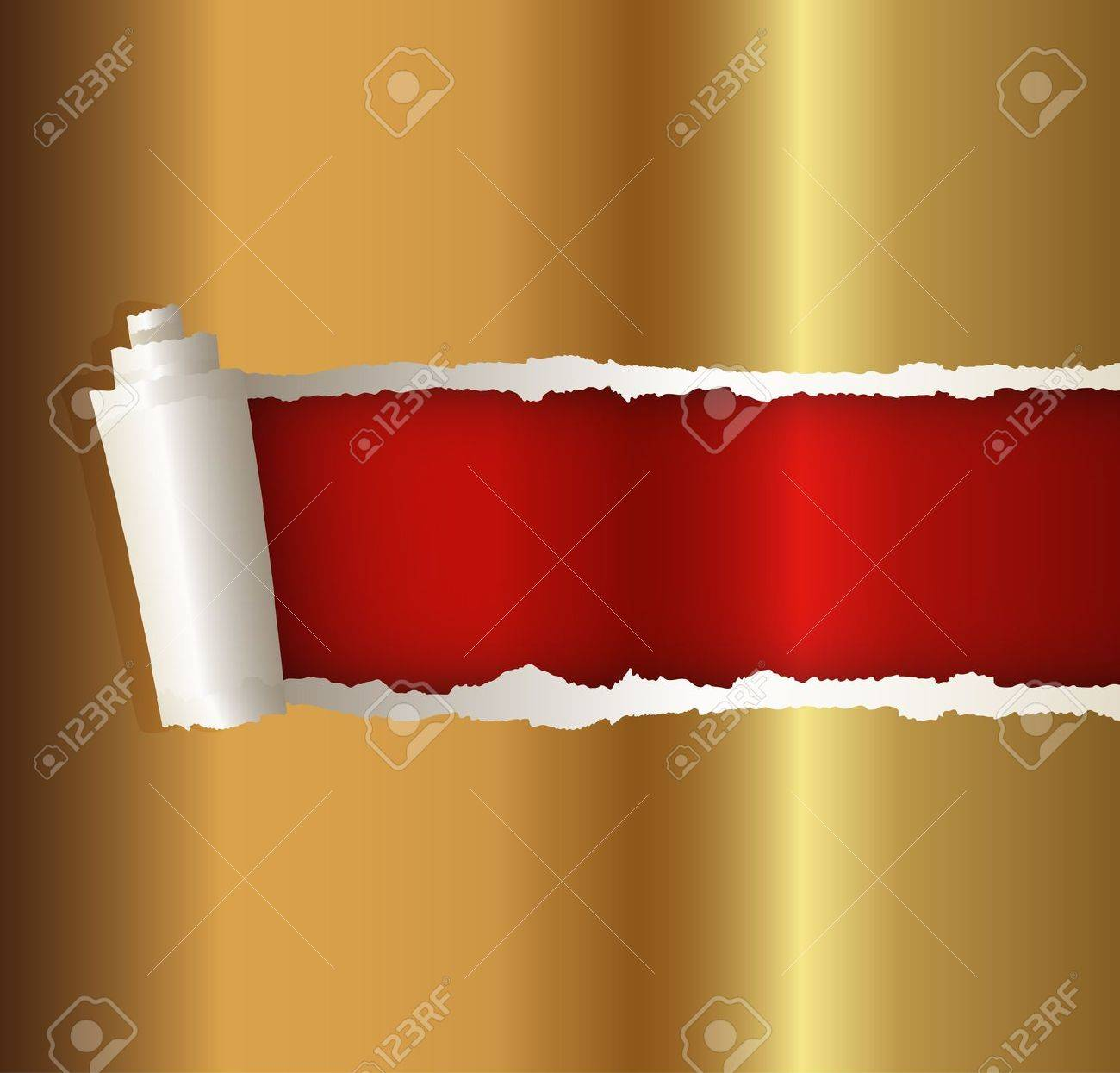 torn paper gold color, suitable for a Christmas background Stock Vector - 14737891