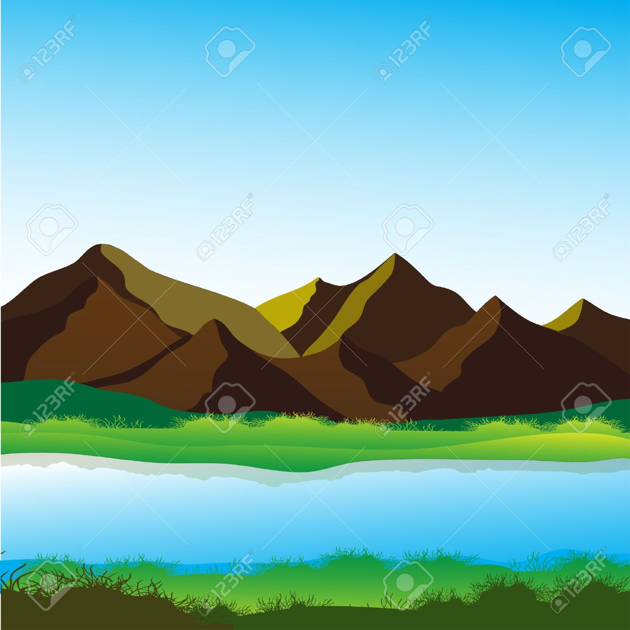 Mountain and river, calming landscape vector image Stock Vector - 14737892