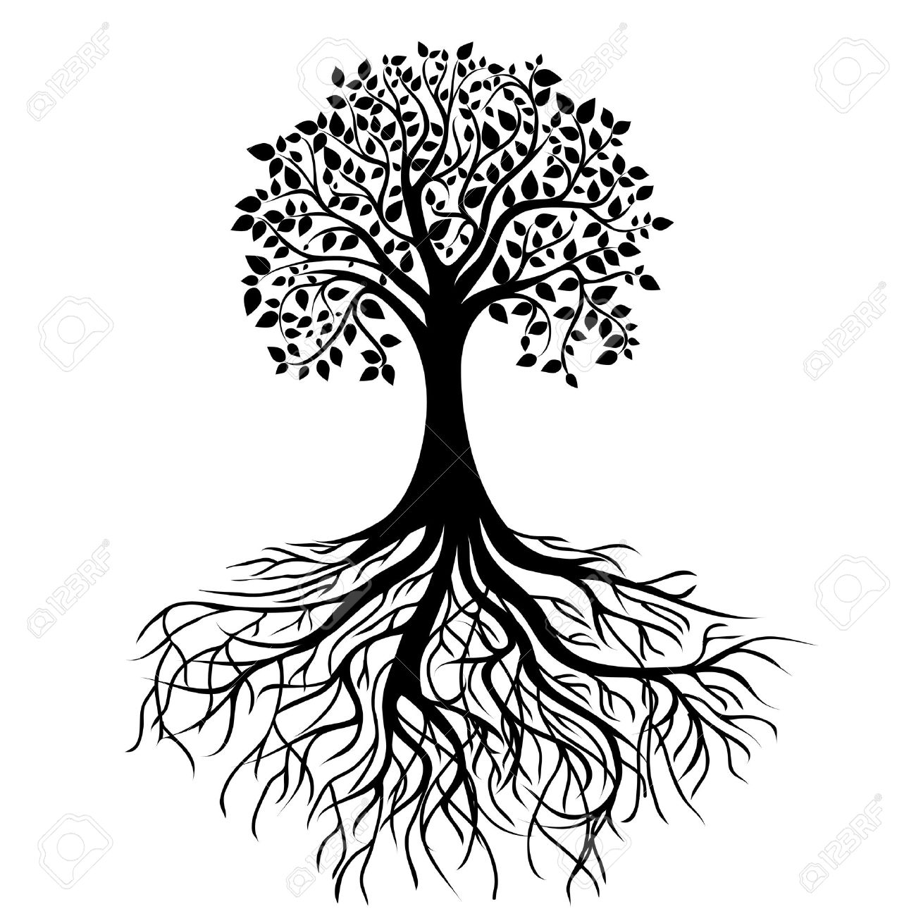 whole black tree with roots isolated white background vector Stock Vector - 14737889