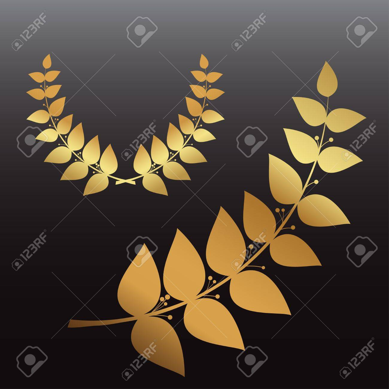 Set golden wreath and laurel branch, vector eps10 Stock Vector - 14737895
