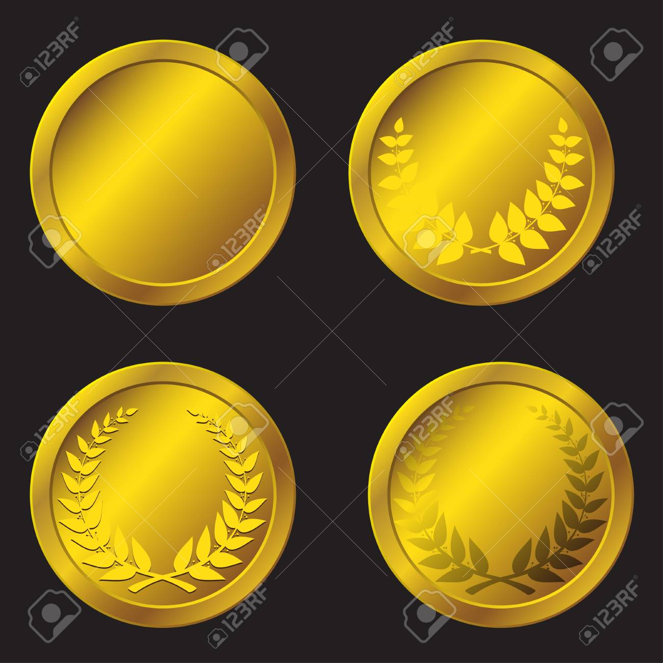 set of gold medals in the vector Stock Vector - 14737897
