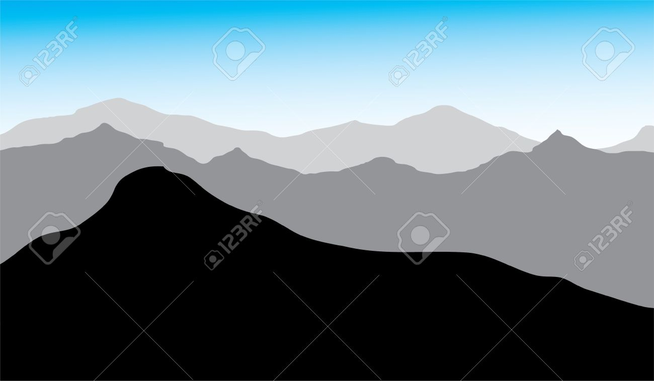 view of the mountains,  drawing, you can use the background Stock Vector - 14813133
