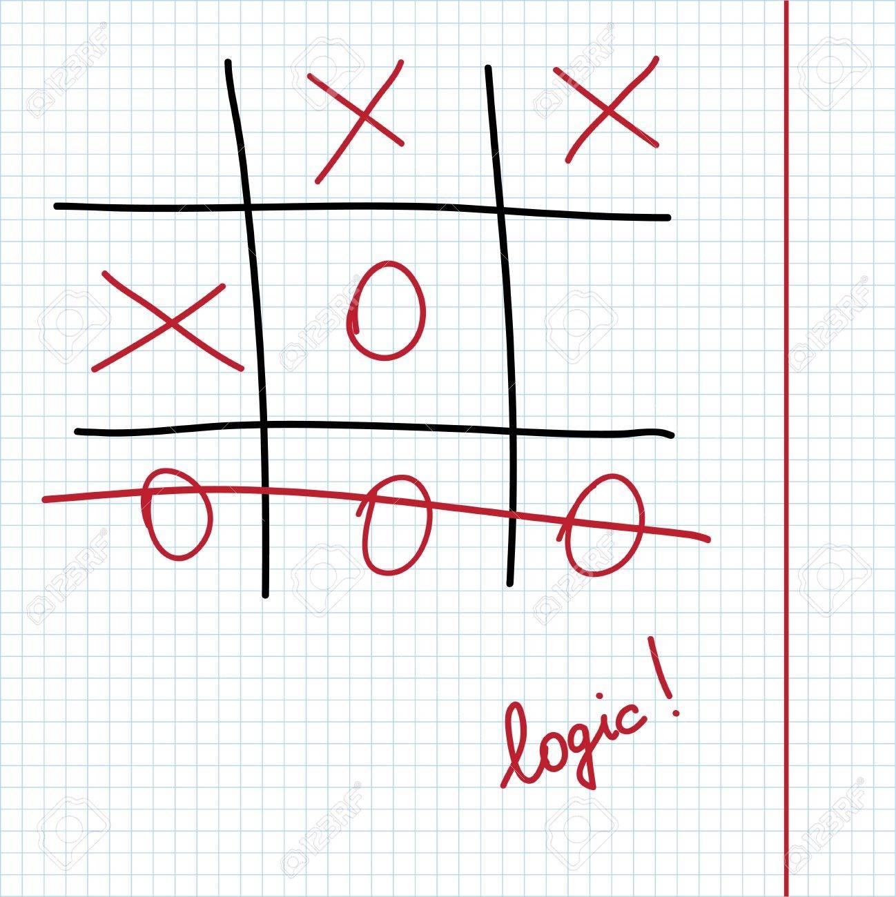 Juego Logico Tic Tac Toe En La Hoja De Papel De Cuaderno