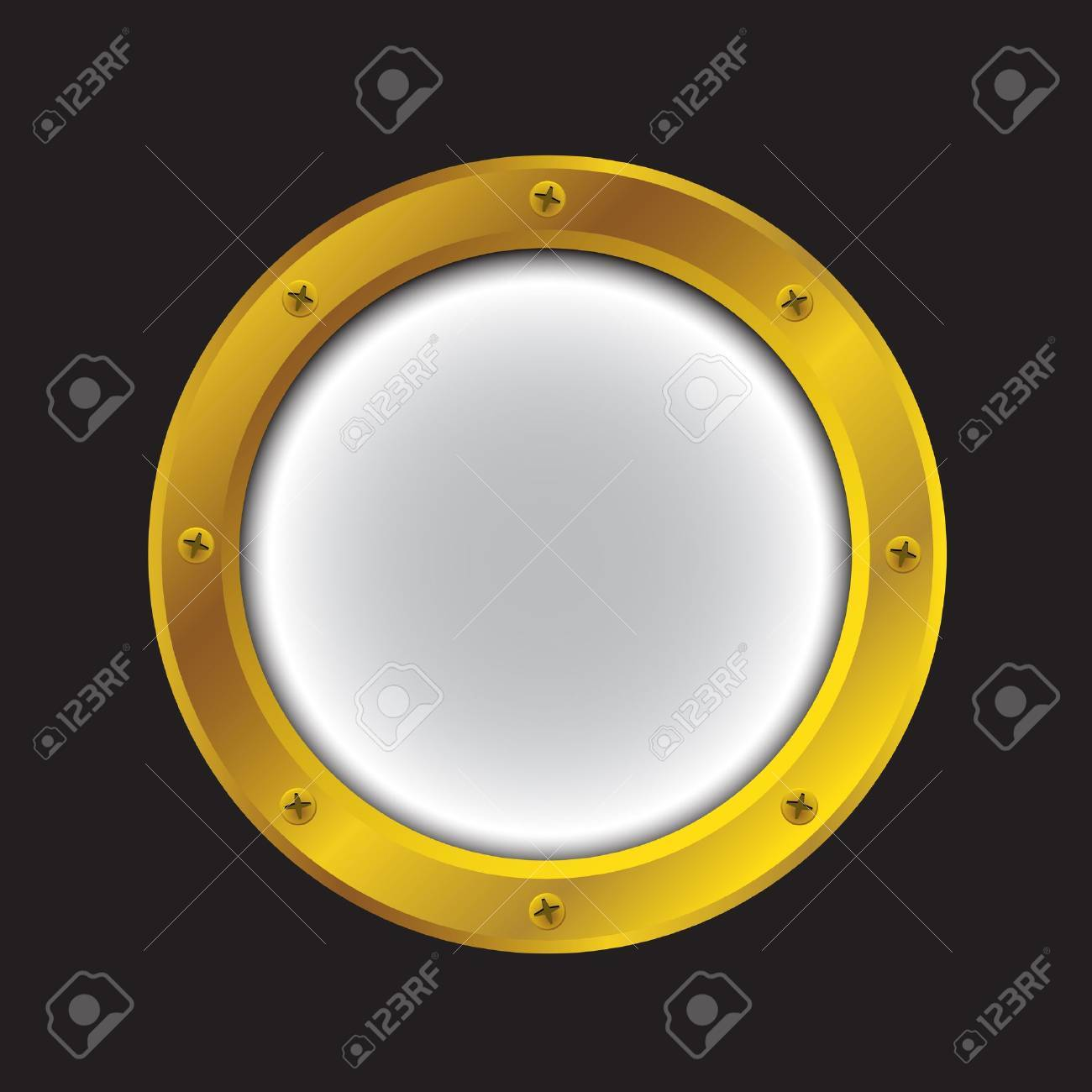 Vector illustration of a gold ship porthole isolated on black Stock Vector - 14980008