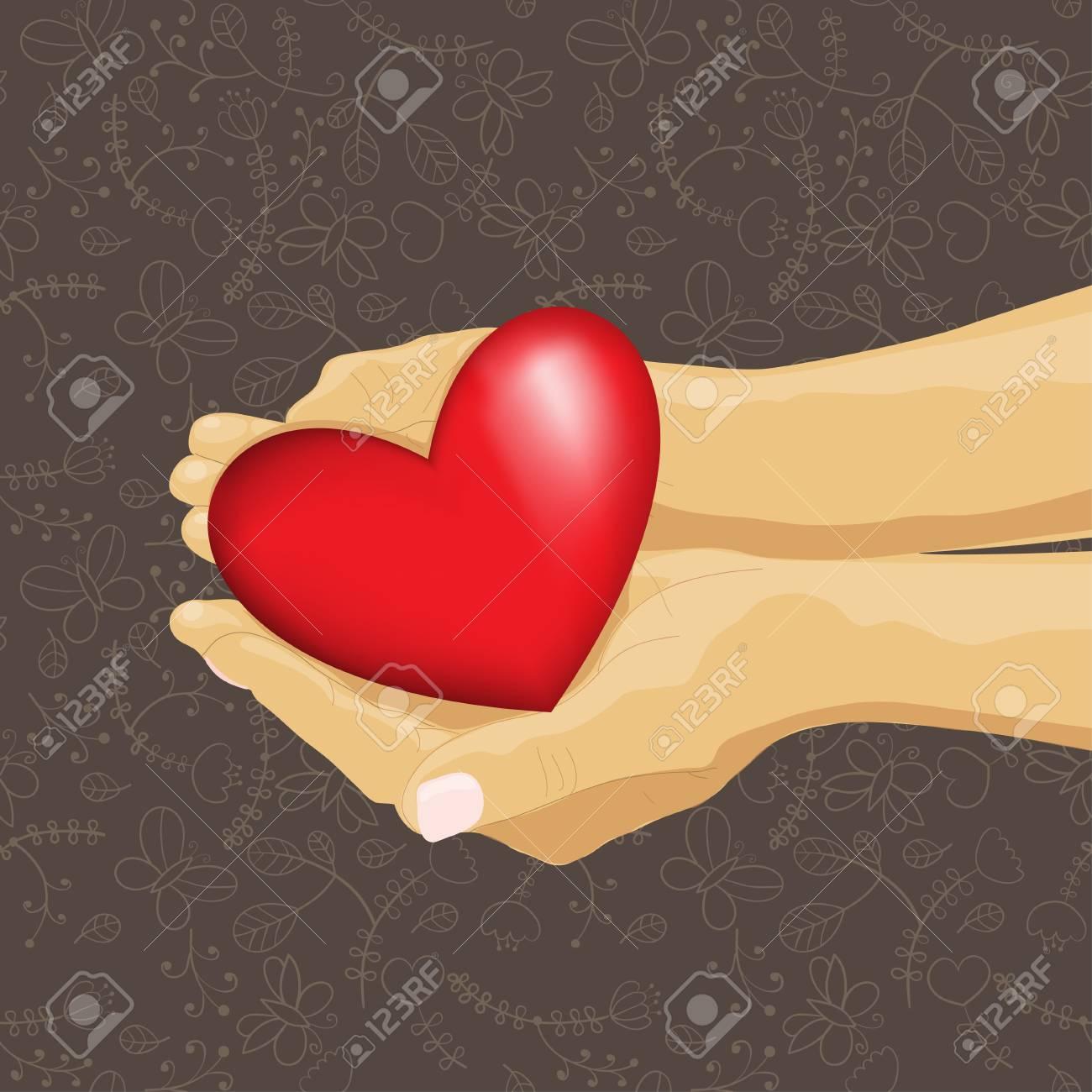 heart in hand, illustration on seamless pattern Stock Vector - 17414076
