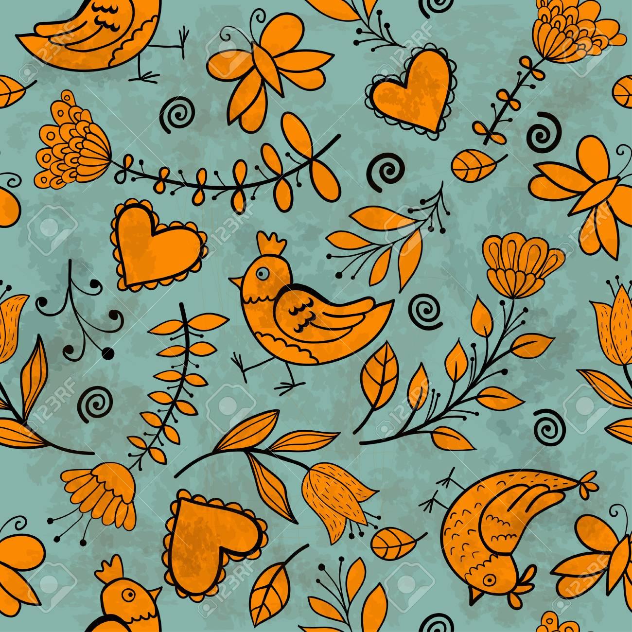 Flower, hearts, birds seamless Stock Vector - 17640904