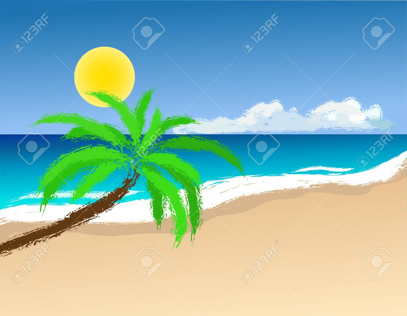 Palm trees on the beach. Vector image. Stock Vector - 20830501