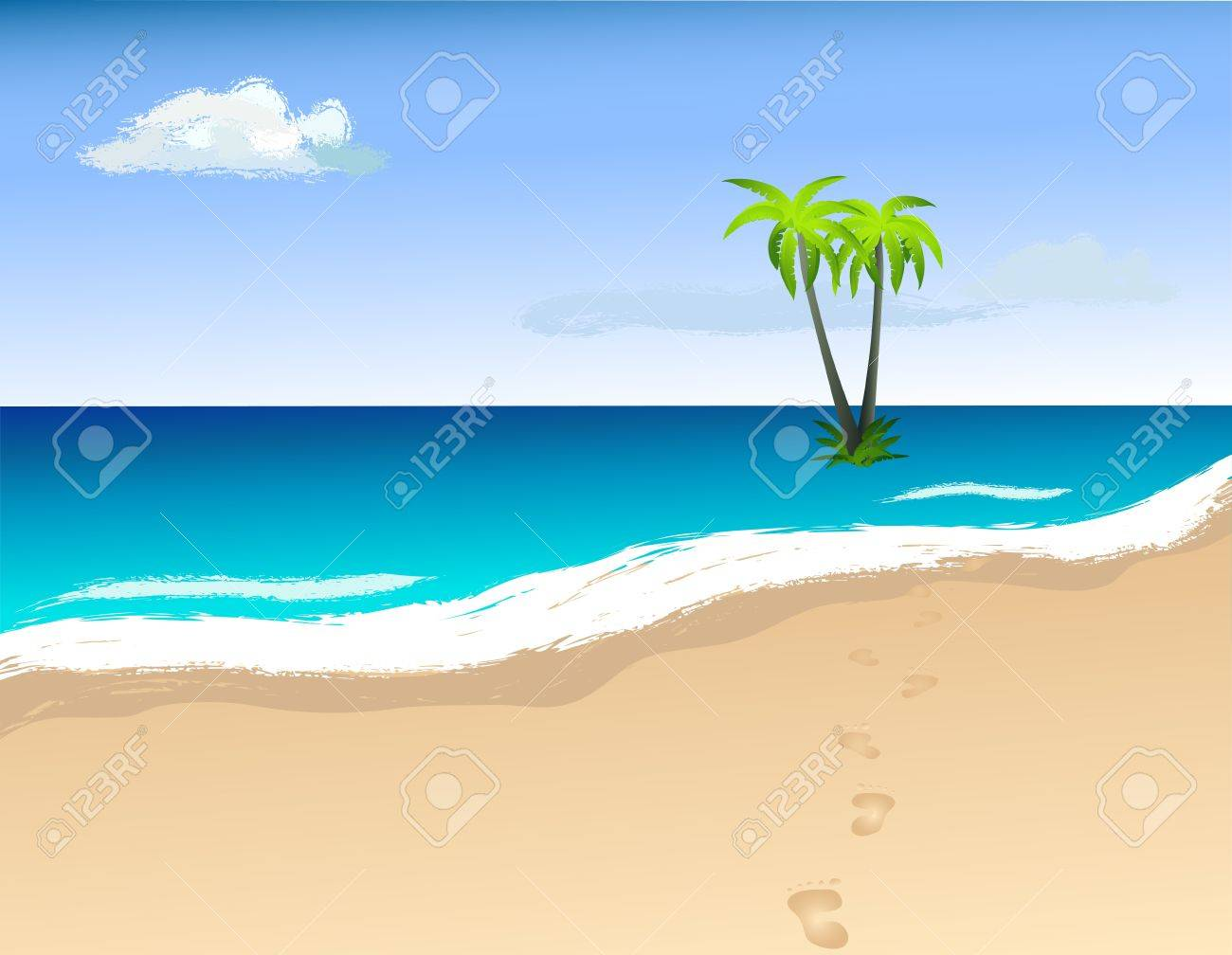 Palm trees on the island. Vector image. Stock Vector - 20830502