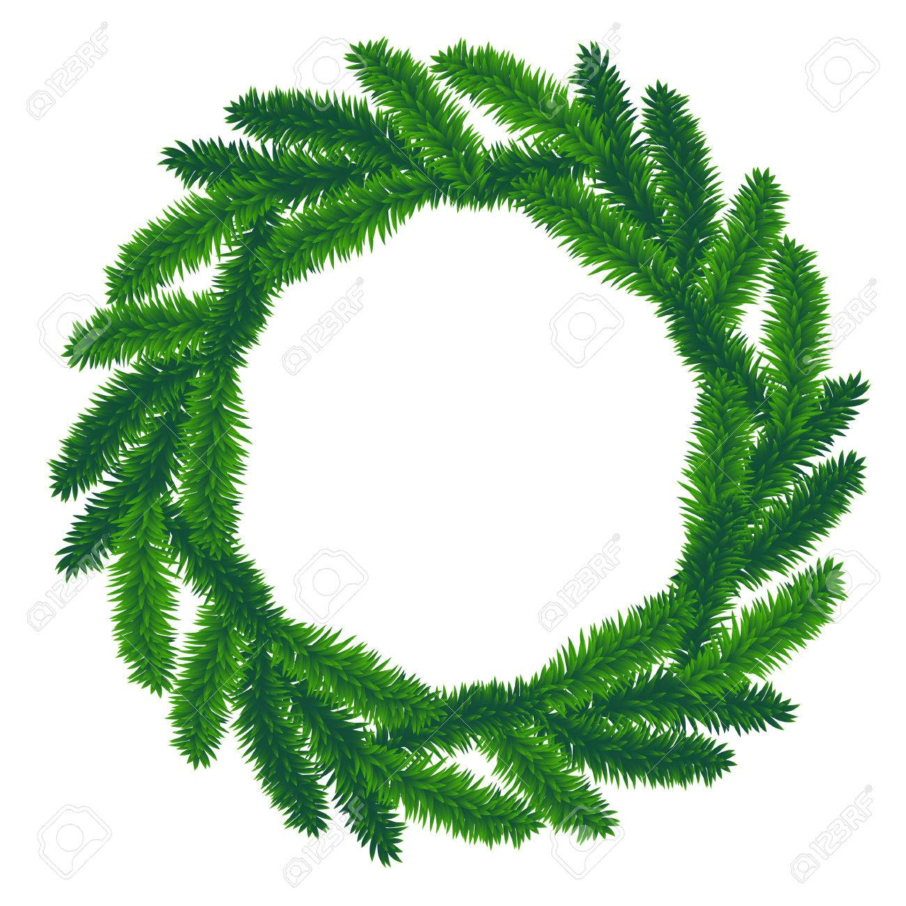 Goede Traditionele Groene Kerst Krans Geïsoleerd Op Een Witte TT-65