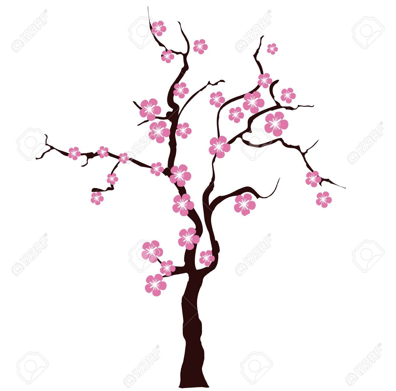 card with stylized cherry blossom vector image for design royalty rh 123rf com cherry blossom vector outline cherry blossom vector black and white
