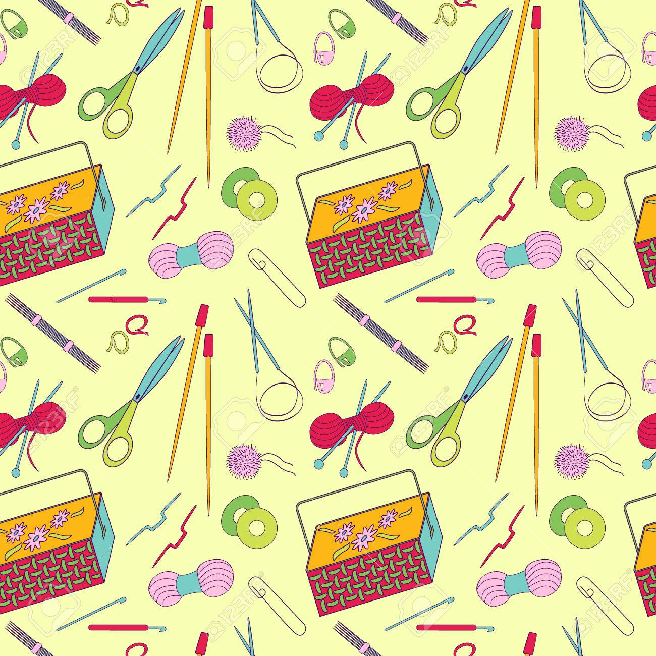 Seamless Pattern Of Knitting And Crafts Icons Knitting Needles Royalty Free Cliparts Vectors And Stock Illustration Image 59770977
