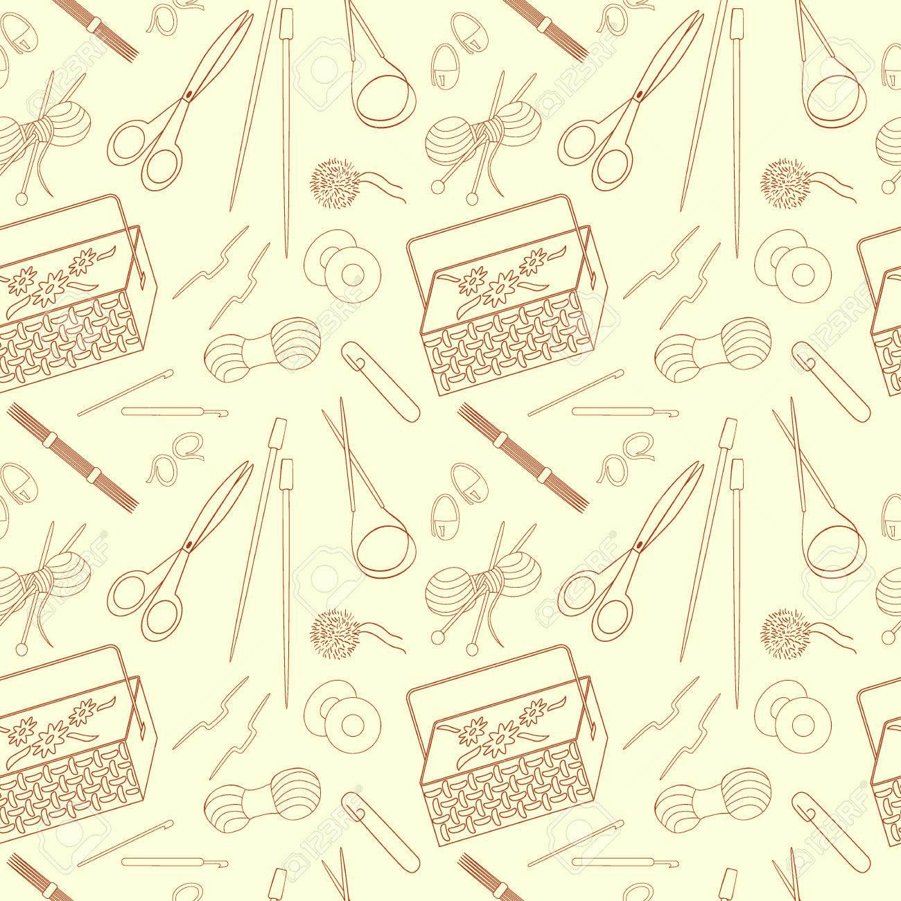 Sin patrón de tejido de punto y artesanías iconos. agujas de tejer, hilado,  hilo, agujas de ganchillo, canasta. Fondo para el uso en el diseño, ...