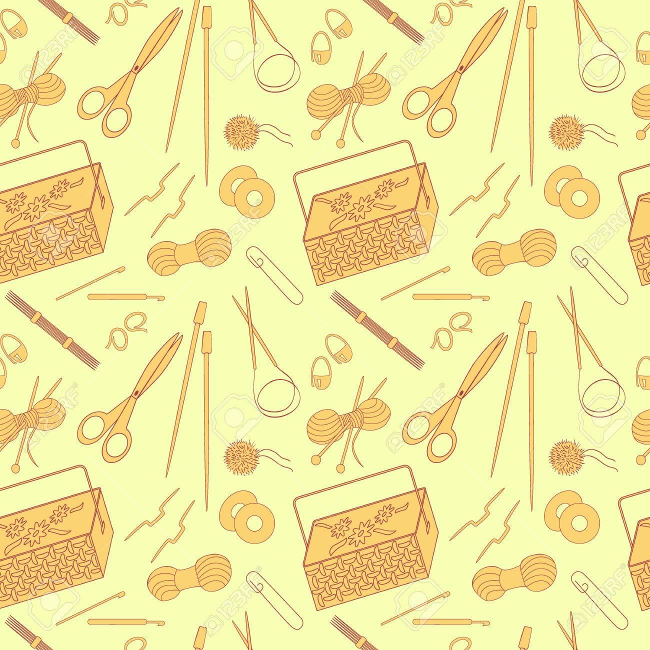 cd28c77ed067 Sin patrón de tejido de punto y artesanías iconos. agujas de tejer, hilado,  hilo, agujas de ganchillo, canasta. Fondo para el uso en el diseño, sitio  ...