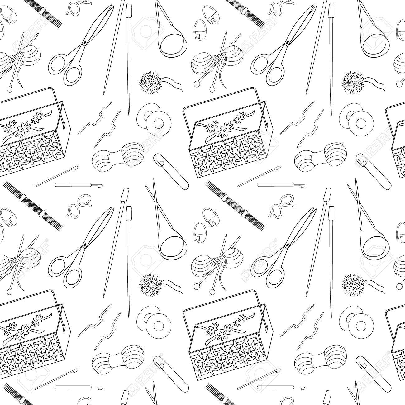 Seamless Pattern Of Knitting And Crafts Icons. Knitting Needles ...