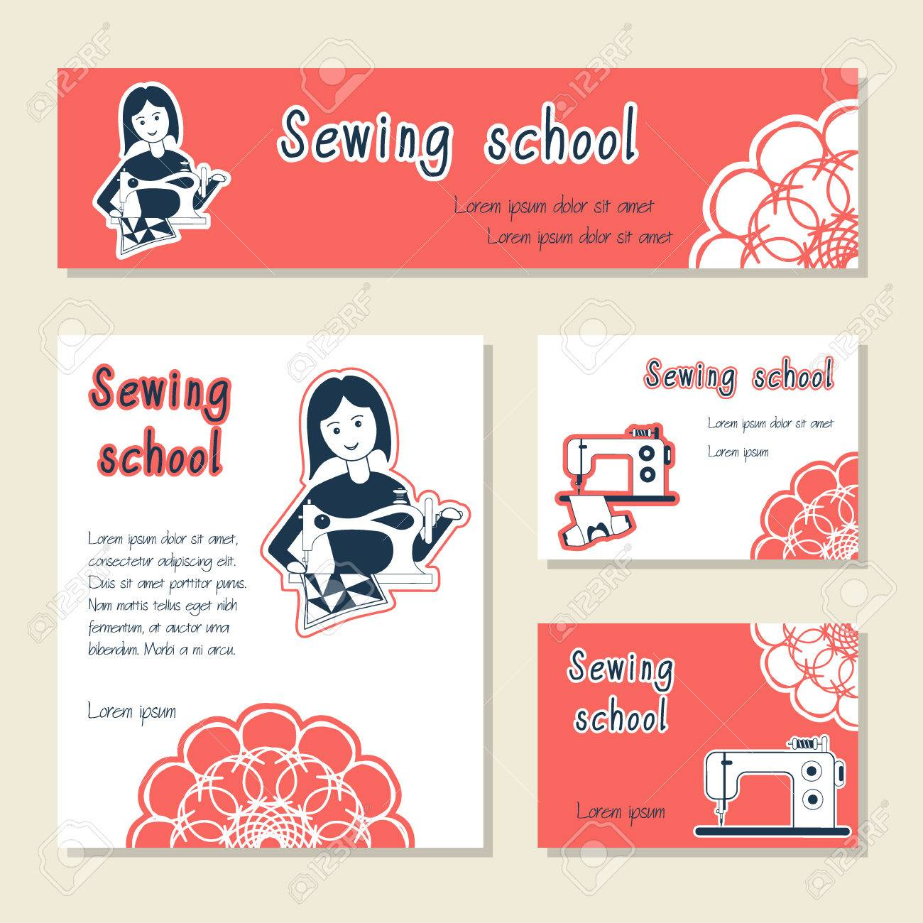 Vector Set Of Cards Template For Sewing School, Tailor Shop, Shop ...
