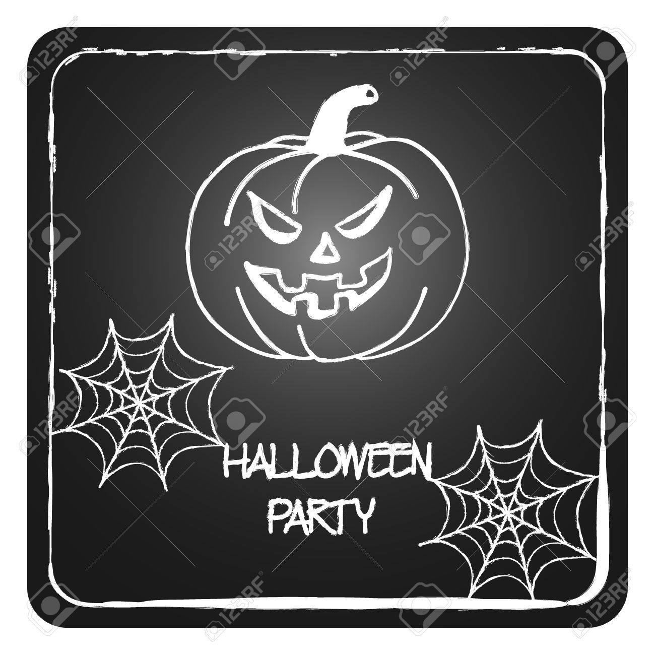 Stock Vector Cards Template For Halloween Party. Hand Drawing ...
