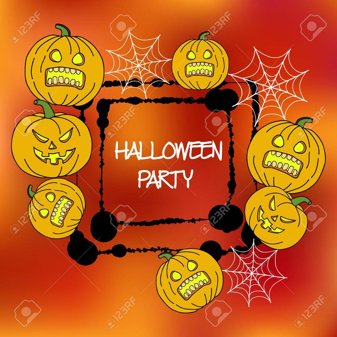 Vektor-Karten-Vorlage Für Halloween-Party. Handzeichnung Kürbis ...