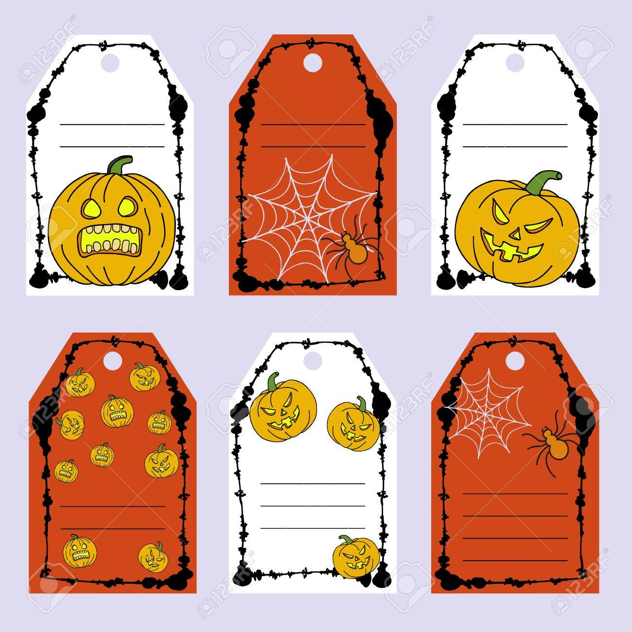 Set Gift Tags Stock Vector Set Of Halloween Attributes And Symbols Royalty Free Cliparts Vectors And Stock Illustration Image 64262459