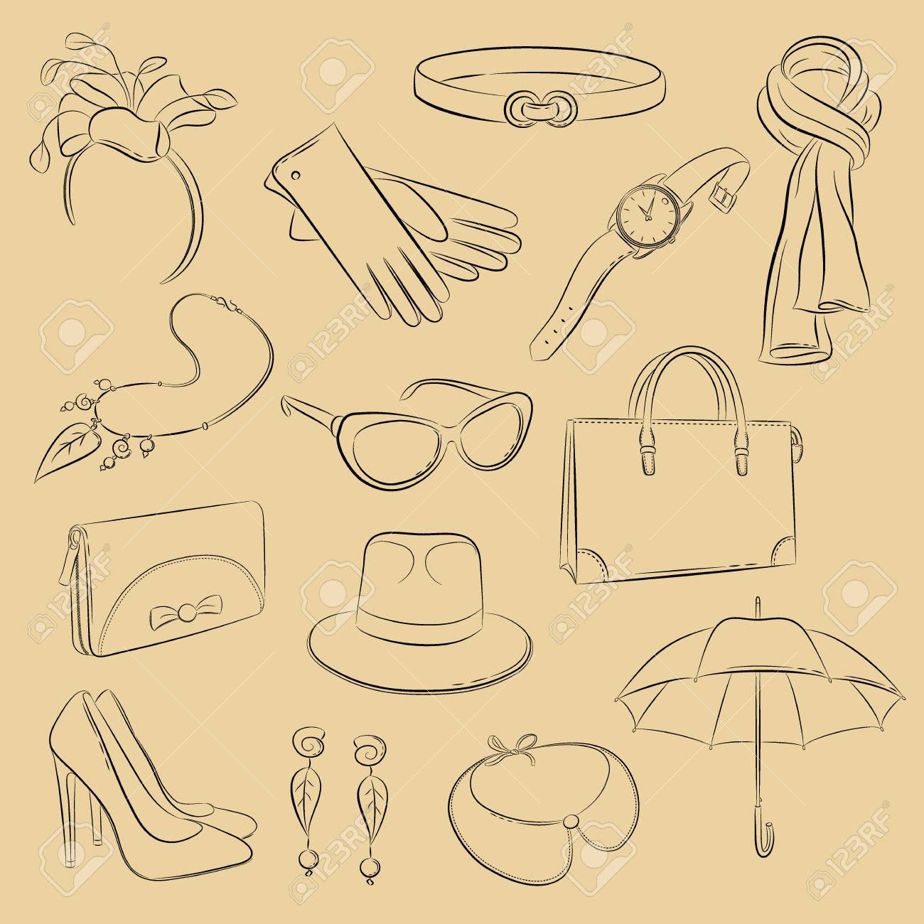 c2f22e1fc35 Vector sketch set. Collection of realistic fashionable accessories  scarf
