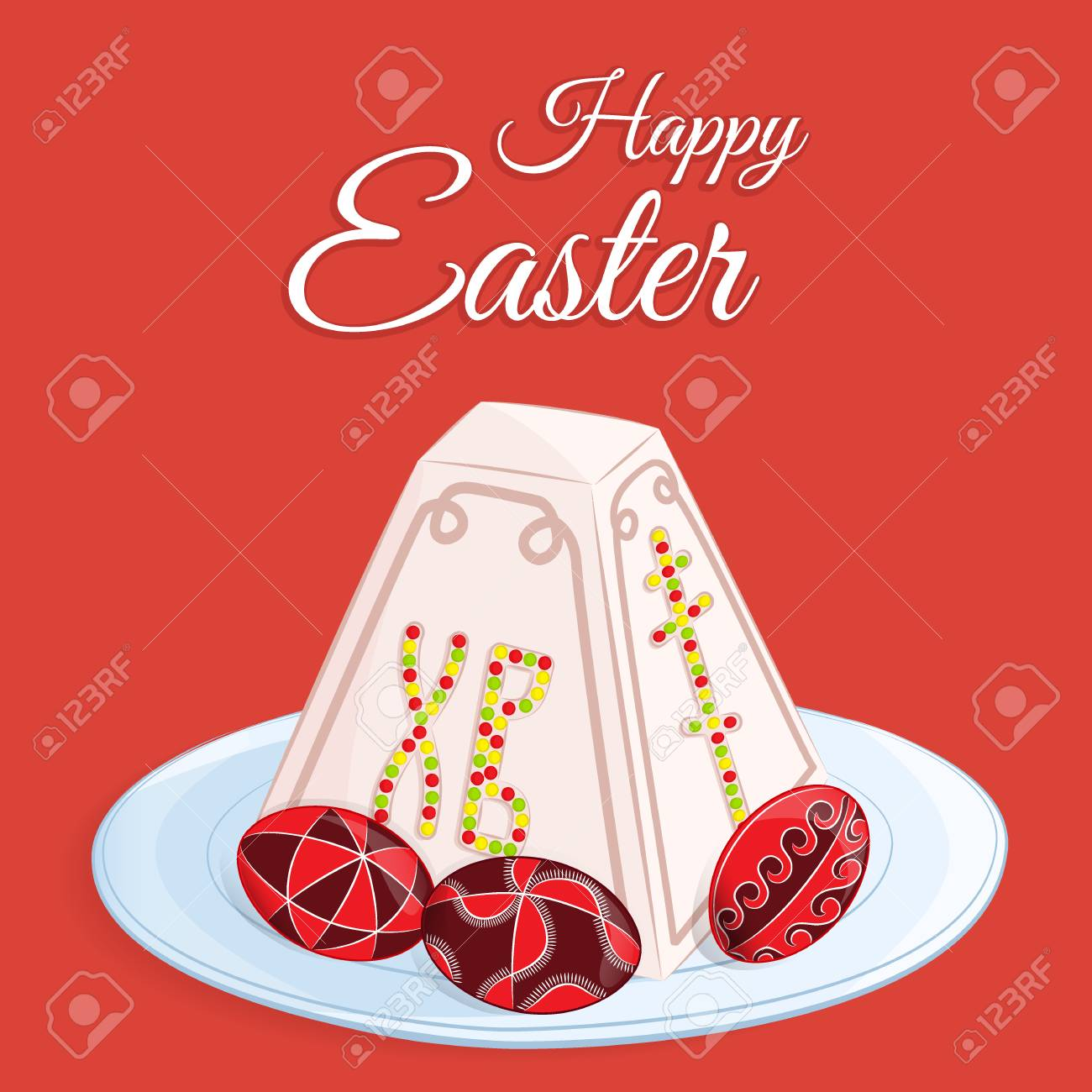 Orthodox easter festive greeting card vector cartoon illustration orthodox easter festive greeting card vector cartoon illustration of a traditional curd dessert called the m4hsunfo Images