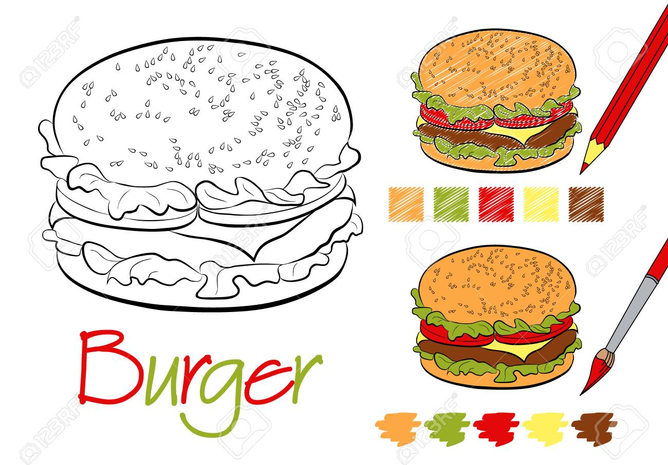 Hamburger Coloring Page For The Book With Examples Of Coloring
