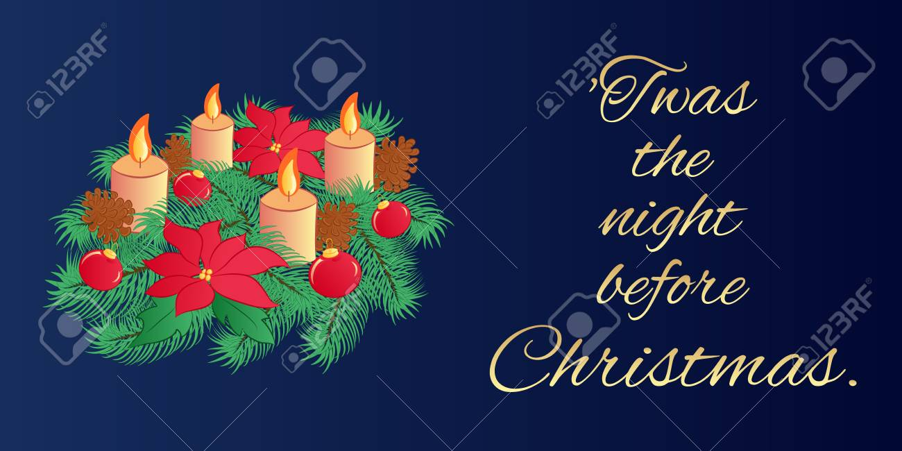Christmas Eve Poem.Christmas Eve Greeting Card Or Horizontal Banner With The Text