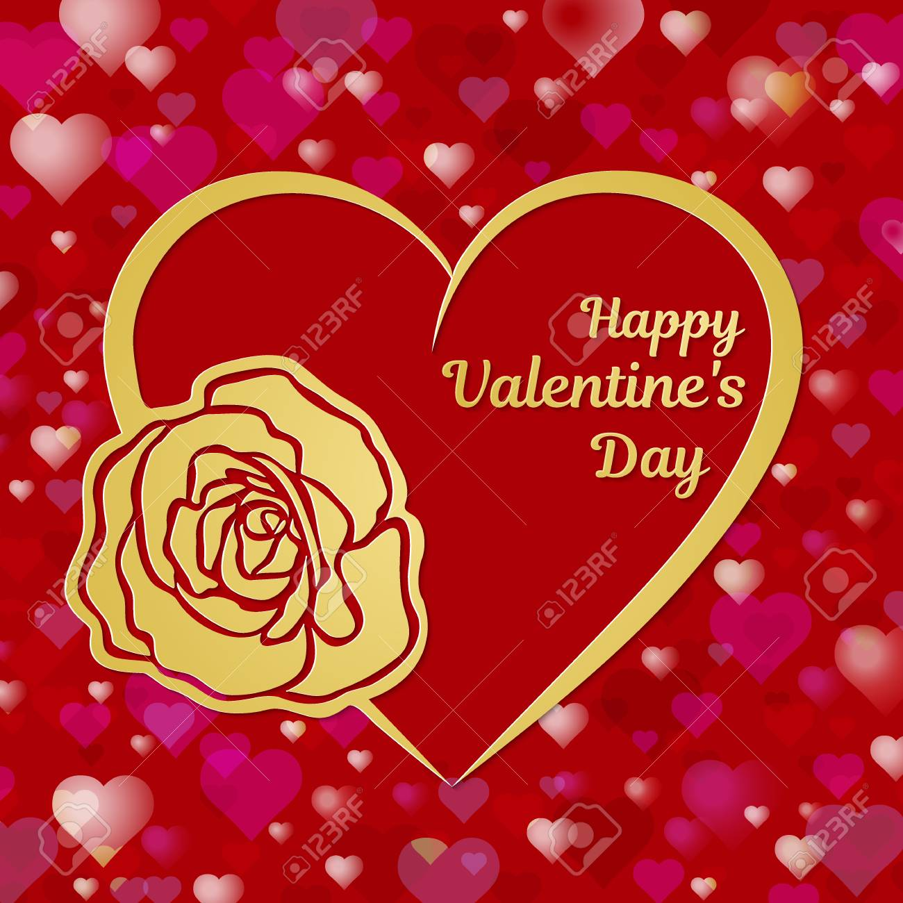 Happy Valentines Day Greeting Card Or Banner A Heart And A