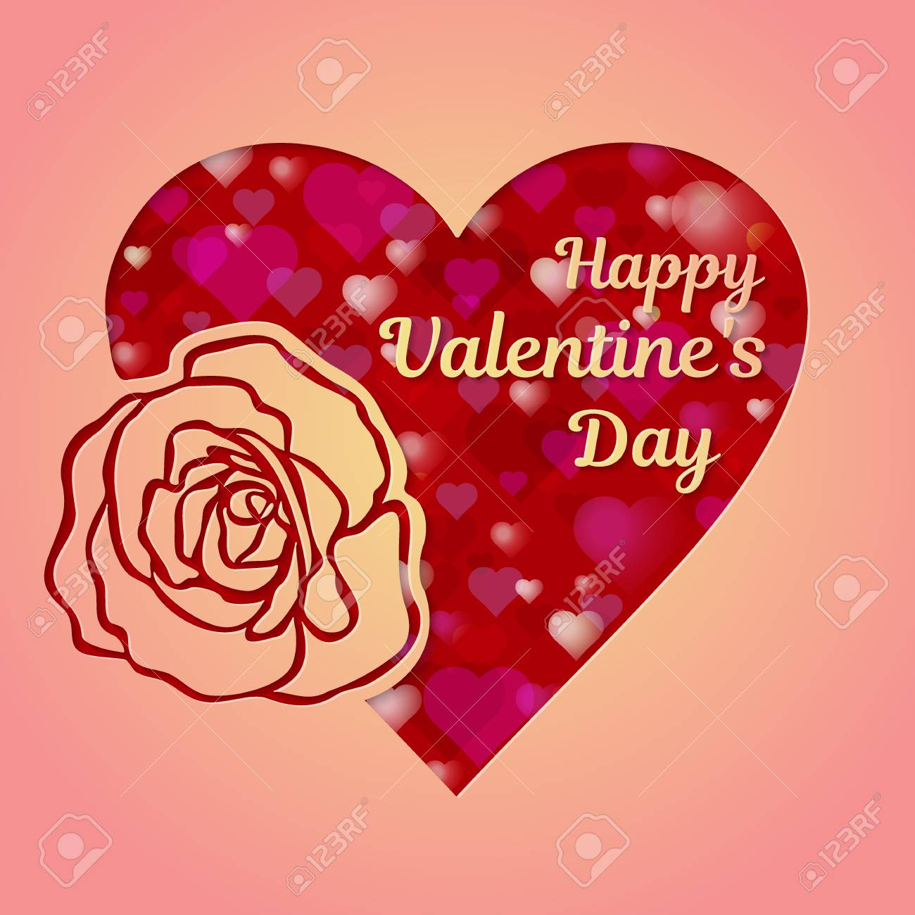 Happy Valentines Day Greeting Card Or Banner A Pink Heart And