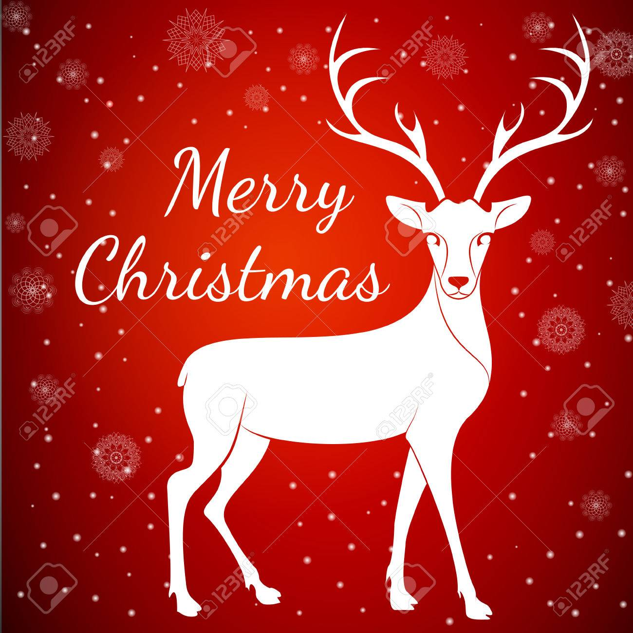 Merry Christmas Reindeer On Snowflakes Dots Background.Graceful ...
