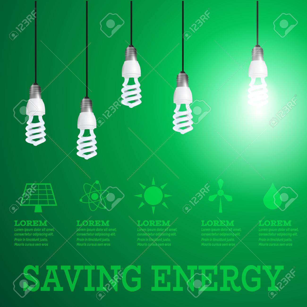 Renewable Energy Infographiclightbulbs On Wires With Alternative Wiring A Light Fixture Green Wire Lightbulbs Resources Stock Vector 68191929