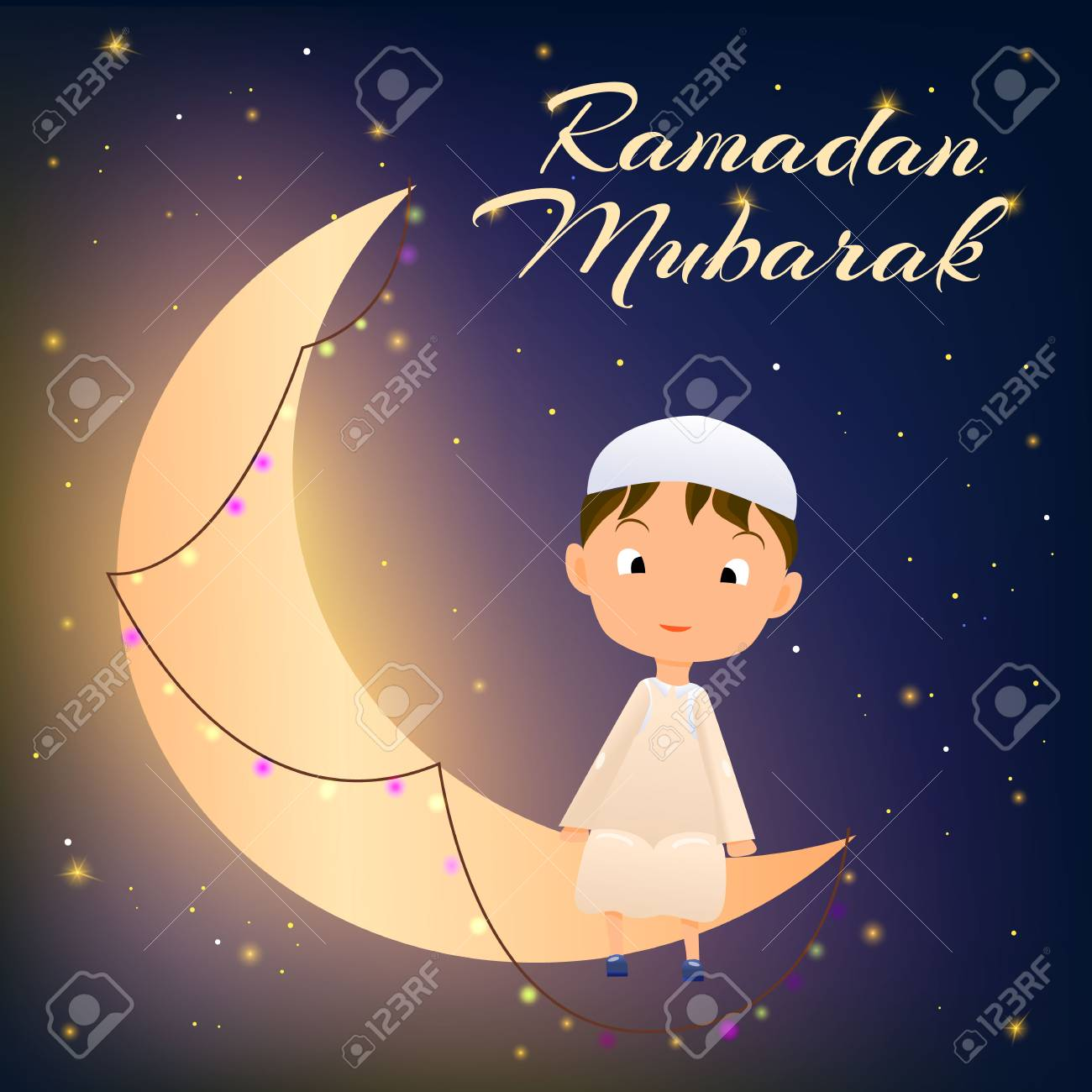 Ramadan kareem greeting card for muslim celebration ramazanhappy ramadan kareem greeting card for muslim celebration ramazanhappy muslim kid on moon crescent card m4hsunfo